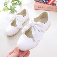 Flat Shoes Flower Girls Pink White Gold Princess Leather For Children Wedding Party Latin Dance 5 6 7 8 10 12 Years