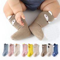 3 pares / set unisex baby calcetines para niños pequeños recién nacidos niños infantes de invierno calentadores de pierna larga de dibujos animados animal patrón niño niña calcetines
