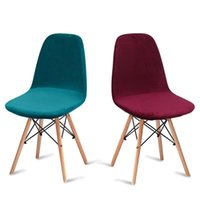 Chair Covers 6 Pack Velvet Fabric Seat Cover For Eames Armless Shell Removable Washable Banquet Home Slipcover
