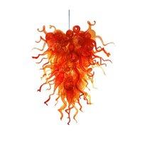 Mão de arte moderna lustre de vidro lustre laranja para sala de estar Bar Hotel 110-220V Luminária de vidro pingente de vidro pendurado