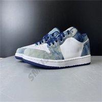 Designer basquete sapatilhas altas sapatos de pano branco preto 1s baixo azul 1 mens jeans mulheres atlético esporte taninos cz8455-100running s pqqa