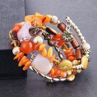 Charme Armbänder 3 teile / los Frauen Multilayer Perlen Weibliche Natürliche Stein Holz Perlen Armband Keramik Armband Schmuck Pulseras