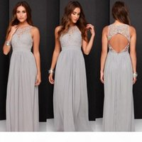 Grey Color Bridesmaid Dresses Long 2019 Lace Top Jewel Neck Chiffon A-Line Formal Dresses Modest Maid Of Honor Dress