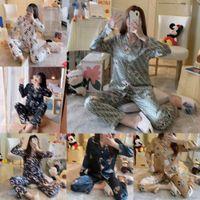 Al por mayor invierno otoño letras impresas pijamas conjuntos de pijamas casero textil moda diseñador dibujos animados patrón casual mujeres de manga larga cardigan ropa de dormir ropa de noche