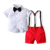 Clothing Sets Kimocat Baby Boys Gentleman Suit, Summer Solid Color Short-Sleeved Shirt + Suspender Shorts, Birthday Party Clothes 0-3 Years
