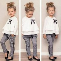 Clothing Sets Toddler Clothes Set Baby Fashion Winter Kids Girls Outfits Ruffle T Shirt Crew Neck Tops+Checked Pants Year D27#