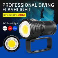 Lanternas Tochas Aefj Mergulho Pogal LED luz subaquática 80m ipx8 cob tocha lâmpada multifunções Light1