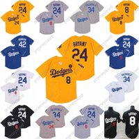 # 8 24 Bry Ant Hommes Femmes Jeunesse 34 Fernando Valenzuela Los Angeles Tout cousu KB Patch Patch Baseball Jerseys S-XXXL