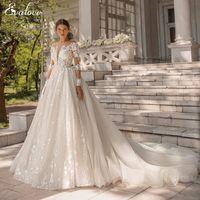 Other Wedding Dresses EVALOVE Romantic Scoop Neck Long Sleeve A-Line Dress Luxury Beading Lace Appliques Detachable Train Princess Bridal Go