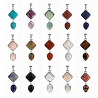 Sevenstone Natural stone double drop pendant men and women stainless steel DIY jewelry necklace key chain fashion items