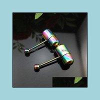 Joyería corporal joyeríatongue piercing perno espárrago acero inoxidable anillos vibrantes rianbow color barra lengua T43 entrega entrega 2021 dbkpf