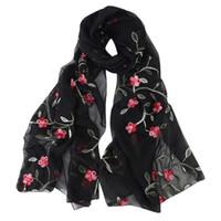 Шарфы Винтажные персиковые Blossom вышивка шарф женские цветочные напечатанные парижская пряжа платок женские элегантные длинные мягкие обертки # T1P