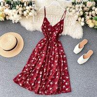 Oceanlove Summer Robe Imprimer Floral Vintage Vintage Beach Style Femmes Robes V cou à la taille haute Coréen Fashion Vestidos Chic 210303