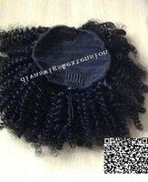 Afro Kinky Кудрявые человеческие волосы Ponytail Extensions Kinky Churely Handstring Человеческие Волосы Художественные Художественные Художественные Художественные Художественные Клипки в хвостике 120г