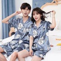 Couples Lovers Pajamas Sets Short Women Sleepwear Sleeved Summer Pyjama Loose Men Faux Silk Style Couple Pijama Set Top Pants