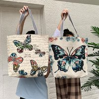 Evening Bags Fresh Butterfly Printed Tote Bag For Women Linen Faric Ladies Shoulder Outdoor Casual Foldable Shopping