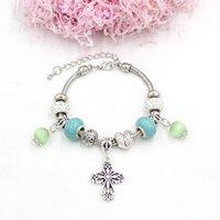 Charm Bracelets 10PCS Women Bracelet & Bangles European Style Angel Wing Bead Cross Charms Christmas Gift Jewelry Pulsera