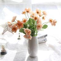 Flores decorativas guirnaldas 10 unids artificial amapola seda flor tela bouquet guirnalda pelo casero boda decoración regalo naranja rojo oscuro