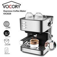Máquina de café espresso semiautomática vocal 850W Cafetera portátil eléctrica de acero inoxidable de 850W 15Bar para FOAMER DE LECHE KA3028