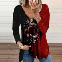 Blouses Femmes Chemises Zipper Femmes Blouse Vintage Floral Impression Irline irrégulière Basic for Long Manches V-Col Elégant Top lâche Femme 40 #