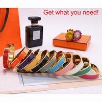 Clásico esmalte arco iris mujer pulsera brazalete brazalete brazaletes H para hombre mujer joyería de alta calidad diseño de diseño 16 colores opcionales H0916