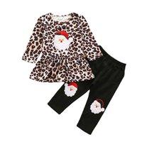 Girls Clothing Sets Baby Suit Christmas Wear Leopard-Print Long Sleeve Dress Printed Pants Leggings Tights 2Pcs Autumn Winter B8258