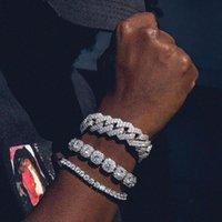 Link, łańcuch kubański cyrkonki cyrkonki 1 rzędowe tenis mężczyzn rapery Unisex cenny biżuteria ulica hip hop złoty człowiek błyszczący bransoletka