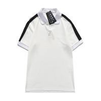 2021POLO Bahar 100% Pamuk Baskı Siyah Beyaz Gömlek Erkekler Ince Polo Gömlek Erkek Marka T Gömlek Giysi Tasarımcıları Patchwork Stripe