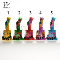 6.5 Inches Glass Bong Hookahs Water Pipe Smoke Clay Surface Monster With Quartz banger 4mm Thick Bongs Female Joint Dab Oil Rig Horrible