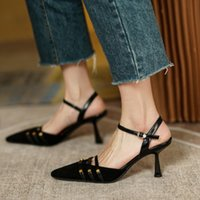 Sandals Black Suede Women Ankle Strap 2021 Fashion Studded 7cm High Heels Summer Shoes 2021Prom Sandalias Femmes Lady Stilettos