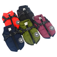 Dropship Large Pet Dog Jacket With Harness Winter Warm Dog C...