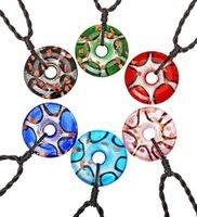 패션 도매 6pcs 3D 라운드 펜던트 목걸이 수제 무라노 Lampwork 유리 혼합 색상