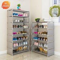 Einfache Schuhständer Vliesstoffe Stahlrohr Easy Montiert Ständerhalter Raumsparung Lagerschuhe Organizer Regal Home Schuhschrank 210306
