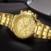 Armbanduhren Wwoor Gold Uhr Männer Top Große Sportuhren für Quarz Wasserdichte Chronograph Armband Mann Relogio Masculino