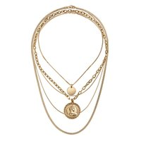 Rongho design Multi layers Metal Choker Human head chokers necklaces Gold coin circle pendant necklace Vintage chains 1243 B3