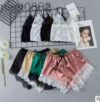 2021 Sexy Women Satin Lingerie Lace Pajamas 2-Piece set Elegant Sleeveless Top and Shorts Night Suit Underwear Sleepwear cy1987