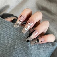 False Nails 24PCS Number Print Nail Patch French Style Glue Type Removable Long Paragraph Manicure Save Time MH88
