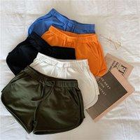 Pantalones cortos de pierna de verano de verano de mujer casual todo-partido de algodón suelto pantalón corto femenino 2020 alta cintura alta dama entrenamiento estiramiento shorts1