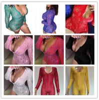 2021 Jumpsuits das mulheres Sexy profundo decote em v Rendas de laço de manga longa Botão apertado Jumpers Home Terno Macacão Pijama Onesies Nightwear 917