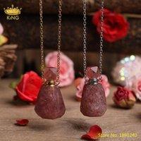 Collana del pendente della bottiglia del profumo argentato dell'oro del quarzo del quarzo della fragola naturale per le donne dei monili della bottiglia di diffusore di olio di cristallo di cristallo
