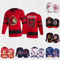 2021 Projekt Hokej Jersey Senatorów Tyler Boucher Blue Kurtki Cole Sillinger Calgary Flames Matthew Coronato Red Skrzydła Sebastian Cossa Rangers Brennan Othmann