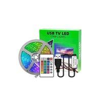 DC 5V 5050 RGB Bande de LED 16.4ft 60leds / m, 300 voyants de couleur Couleur Change Lights Decoration d'éclairage de corde flexible non étanche (bande de circuit imprimé noir)
