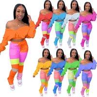 Lange Hosen Damen 2 stücke Sets Lässige Frauen Outfits Kontrastfarbe Womens Designer Trainingsanzüge Mode Batwing Ärmelnde Bluse
