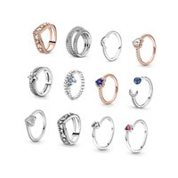 2021 925 sterling silver shiny gemstone fashion classic love ring rose gold ladies party high-end original jewelry