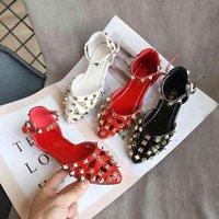 Été Arrivée Filles Fashion Princesse Rivets Chaussures Enfants Sandales de design coréen 210528
