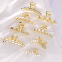 Large Exquisite Luxury Metal Alloy Pearl Rhinestones Hairpin Barrette for Women Girl Accessories Headwear 3227 Q2