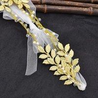 Clips de pelo Barrettes Moda Hoja chapada en oro Diadema Cristal Pearl Bridal Boda Tocado Ornamento Corona Joyería