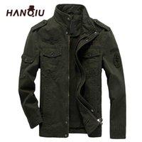 Hanqiu Marque M-6XL Bomber Jacket Hommes Vêtements militaires Spring Automne Mâle manteau masculin Solide Lâche militaire militaire 211009