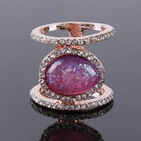 Wedding Rings Fashion Exquisite Crystal Moonstone For Women Simple Jewelry Promise Date Gift Engagement