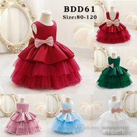 Baby girls sequins Bows 1st birthday party dresses christmas children princess clothing kids backless tiered lace tulle tutu dress Q2612